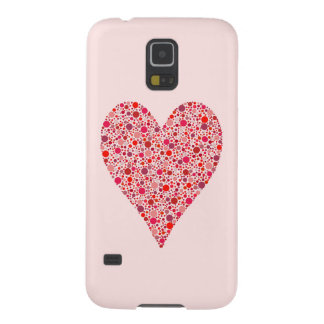 Heart Shape Crimson Polka Dots on Pink Galaxy S5 Case