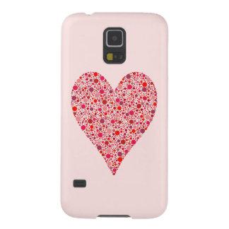 Heart Shape Crimson Polka Dots on Pink Galaxy S5 Covers