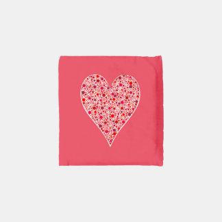 Heart Shape Crimson Polka Dots on Pink Reusable Bag