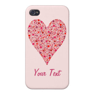 Heart Shape Crimson Polka Dots on Pink iPhone 4/4S Cases