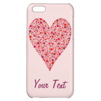 Heart Shape Crimson Polka Dots on Pink iPhone 5C Covers