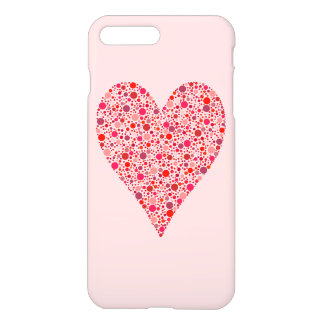 Heart Shape Crimson Polka Dots on Pink iPhone 7 Plus Case