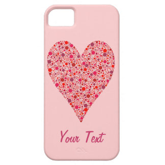 Heart Shape Crimson Polka Dots on Pink iPhone SE/5/5s Case