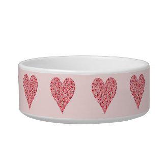 Heart Shape Crimson Polka Dots on Pink Pet Bowls