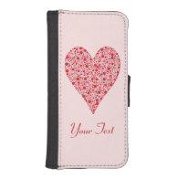 Heart Shape Crimson Polka Dots on Pink Phone Wallet