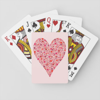 Heart Shape Crimson Polka Dots on Pink Playing Cards