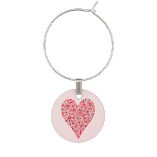 Heart Shape Crimson Polka Dots on Pink Wine Glass Charm