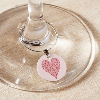 Heart Shape Crimson Polka Dots on Pink Wine Glass Charm