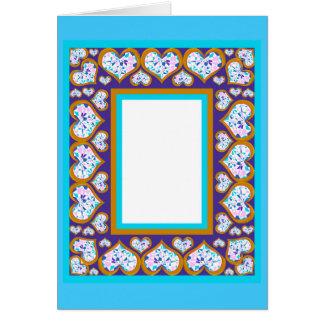 Heart shape diamonds gold aqua frame notecard