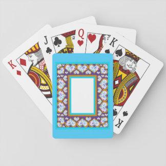 Heart shape diamonds gold aqua playing card games