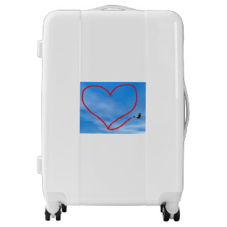 Heart shape from biplan smoke - 3D render Luggage
