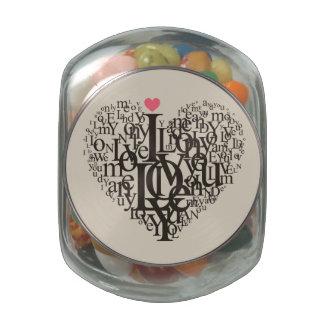 Heart shape from letters glass jars