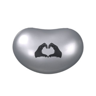 Heart Shape Hands Illustration with black hearts Candy Tin