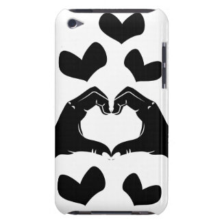 Heart Shape Hands Illustration with black hearts iPod Case-Mate Case