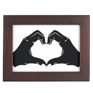 Heart Shape Hands Illustration with black hearts Keepsake Box
