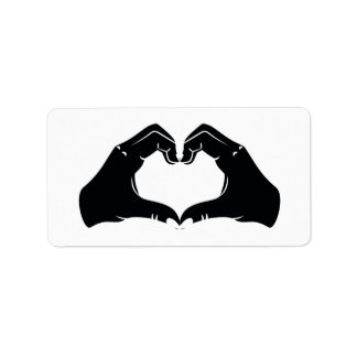 Heart Shape Hands Illustration with black hearts Label