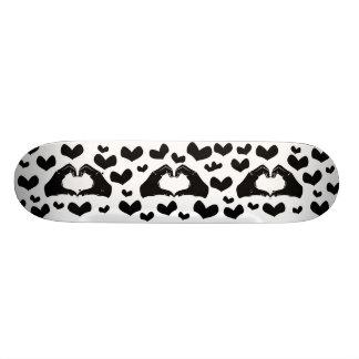Heart Shape Hands Illustration with black hearts Skateboard Deck