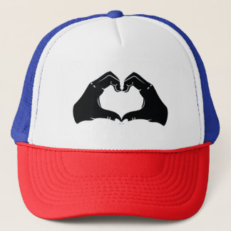 Heart Shape Hands Illustration with black hearts Trucker Hat