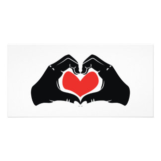 Heart Shape Hands Illustration with red hearts Card