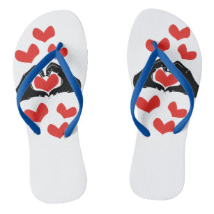 ce195a8720cd Heart Shape Hands Illustration with red hearts Flip Flops