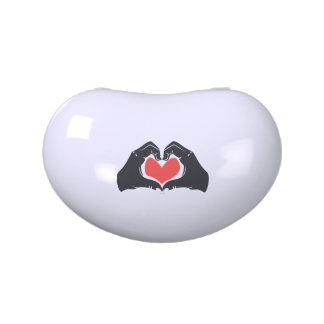 Heart Shape Hands Illustration with red hearts Jelly Belly Candy Tins