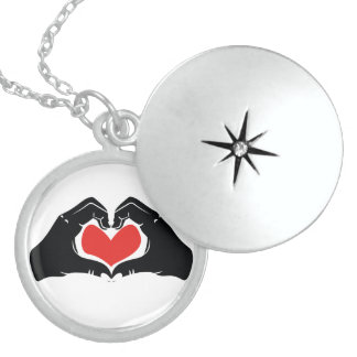 Heart Shape Hands Illustration with red hearts Locket Necklace