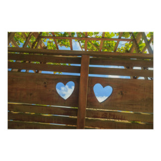Heart shape in a fence, Belize Poster