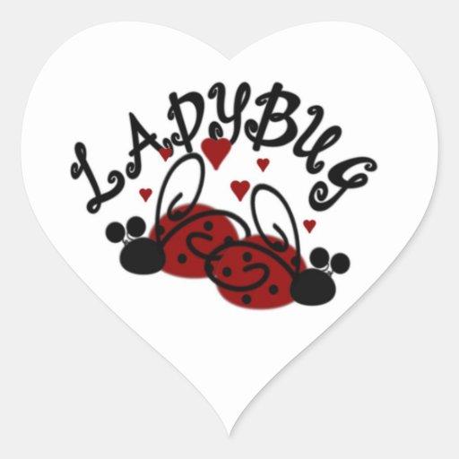 Heart Shape Ladybug Stickers