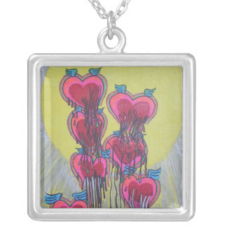 heart shape melted crayons square pendant necklace