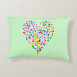 Heart Shape rainbow multi colored Polka Dots Accent Pillow