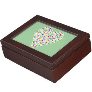 Heart Shape rainbow multi colored Polka Dots Keepsake Box