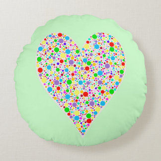 Heart Shape rainbow multi colored Polka Dots Round Pillow