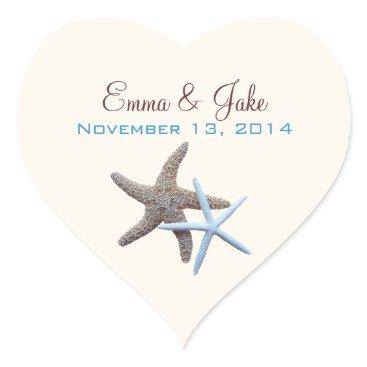Valentines Themed Heart Shape, Starfish Wedding Sticker
