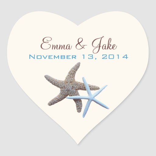 Heart Shape, Starfish Wedding Sticker