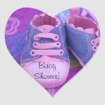 Heart Shape stickers Pink Baby Shoes Baby Shower