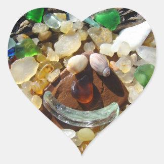 Heart shape stickers Smiley Face Beach Agates Rock
