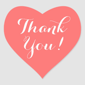 Heart shape stickers with thank you message