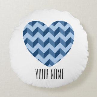 Heart Shape Tiffany and Navy Blue Modern Chevron Round Pillow