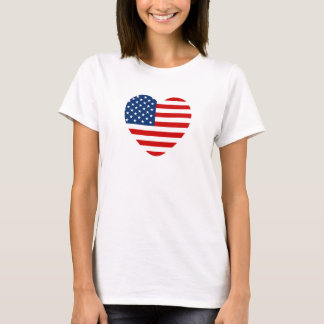 Heart Shape US Flag Customized T-Shirt