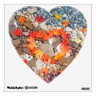 Heart Shape wall decal Heart Leaves Rock Garden