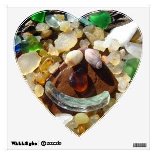 Heart Shape Wall decals Seaglass Agate Rocks Shell