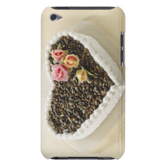 Heart shape wedding cake with flower, close-up barely there iPod case