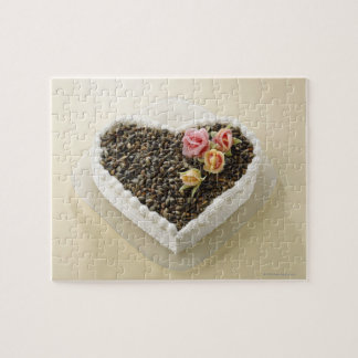 Heart shape wedding cake with flower, close-up jigsaw puzzle