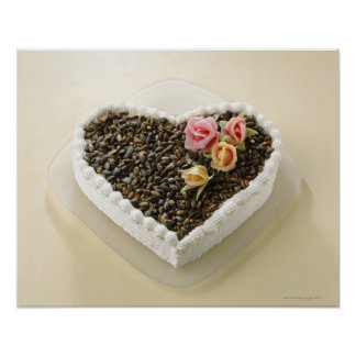 Heart shape wedding cake with flower, close-up poster