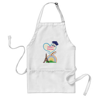 Heart shape with French icons and symbols Adult Apron