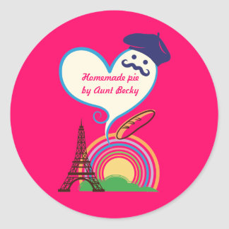 Heart shape with French icons and symbols Classic Round Sticker