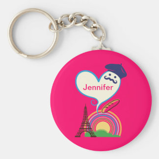 Heart shape with French icons and symbols Keychains