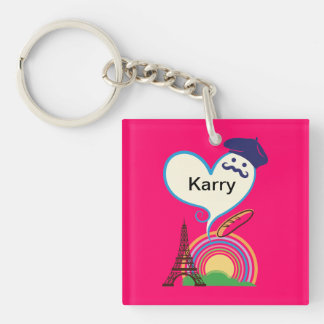 Heart shape with French icons and symbols Acrylic Keychain