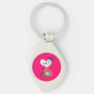 Heart shape with French icons and symbols Key Chains