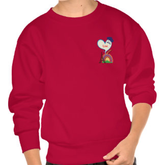 Heart shape with French icons and symbols Pullover Sweatshirts